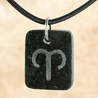 Jade pendant necklace, 'Dark Green Aries' - Jade and Leather Aries Zodiac Necklace
