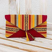 Cotton clutch, 'Autumnal Path' - Hand-woven Cotton Clutch Bag from Guatemala