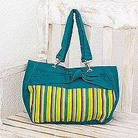 Cotton shoulder bag, 'Emerald Parallels' - Guatemalan Hand-woven Cotton Shoulder Bag