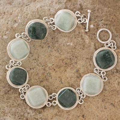 Jade link bracelet, 'Geometric Enigma' - Light and Dark Green Jade Bracelet Silver Artisan Jewelry