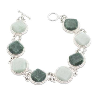 Jade link bracelet, 'Geometric Enigma' - Light and Dark Green Jade Bracelet Silver Artisan Jewelry