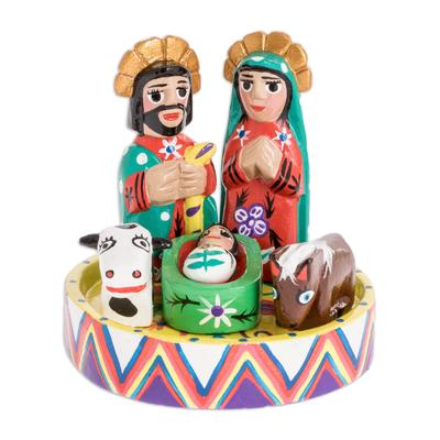 Wood nativity scene, 'Petite Christmas' (set of 7) - Petite 7 Piece Carved Wood Nativity Scene