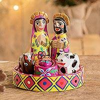 Wood nativity scene, 'Petite Creche' (set of 7)
