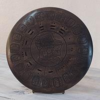 Wood sculpture, 'Maya Ancestor II' - Maya Calendar Wood Sculpture to Stand or Hang