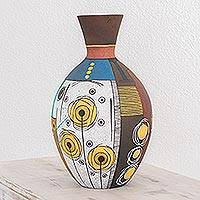 Ceramic decorative vase, 'Abstract City' - Handmade Contemporary Ceramic Vase