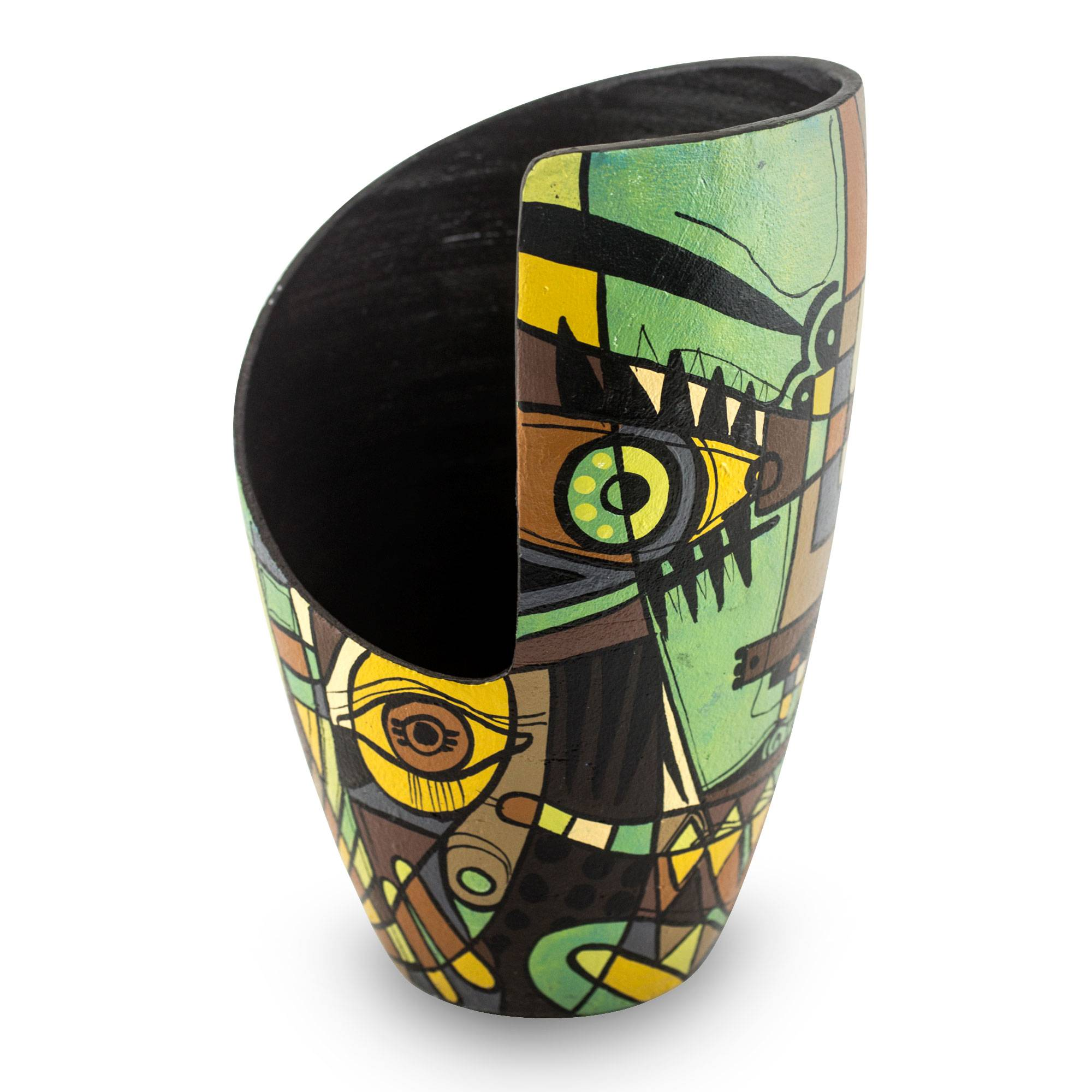 decorative ceramic vase with hand painted abstract art abstract glance novica
