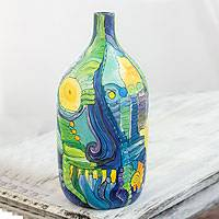 Ceramic decorative bottle, 'Abstract Caribbean' - Decorative Ceramic Bottle with Hand Painted Abstract Art