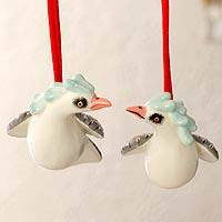 Ceramic ornaments, 'Fanciful Pigeon' (pair) - Handcrafted Christmas Ceramic Bird Ornament (Pair)