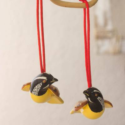 Ceramic ornaments, 'Little Brown Quail' (pair) - Handcrafted Ceramic Bird Ornaments (Pair)
