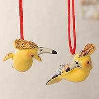 Ceramic ornaments, 'Blonde Crested Woodpecker' (pair) - 2 Blond Crest Woodpecker Ceramic Bird Ornaments