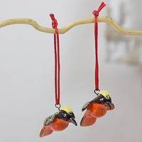 Ceramic ornaments, 'Yellow-Crested Woodpecker' (pair) - 2 Yellow Crested Woodpecker Ceramic Bird Ornaments