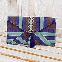 Cotton clutch, 'Quiet Paths' - Hand-woven Cotton Clutch Bag from Guatemala