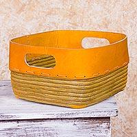 Leather and pine needle basket, 'Tangerine' - Handcrafted Modern Basket of Leather and Pine Needles in Ora
