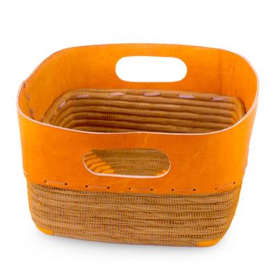 Nicaragua Handcrafted Pine Needle Basket with Orange Leather