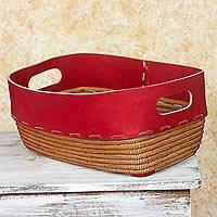 Leather and pine needle basket, 'Chili Pepper Red' - Nicaraguan Red Leather Hand Crafted Pine Needle Basket