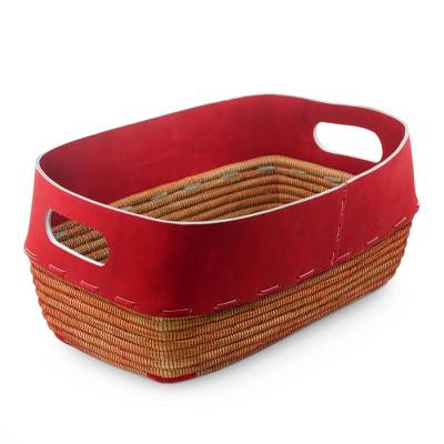 Leather and pine needle basket, 'Chili Pepper Red' - Handcrafted Heirloom Modern Basket of Leather and Pine Needl
