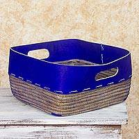 Leather and pine needle basket, 'Vibrant Blue' - Nicaragua Hand Crafted Pine Needle Basket with Blue Leather