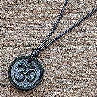Jade pendant necklace, 'Meditation' - Maya Jade Om Necklace