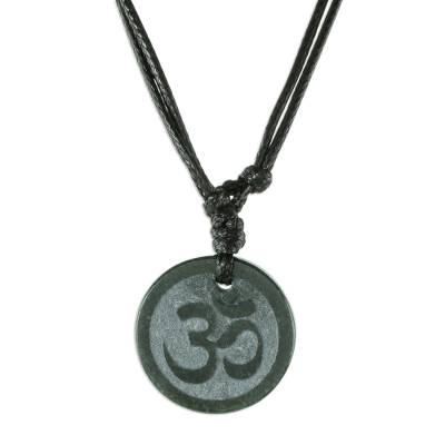 Jade pendant necklace, 'Meditation' - Maya Jade Om Necklace Artisan Crafted Jewelry