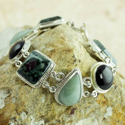 Jade link bracelet, 'Natural Geometry' - Green and Black Jade on Sterling Silver Bracelet