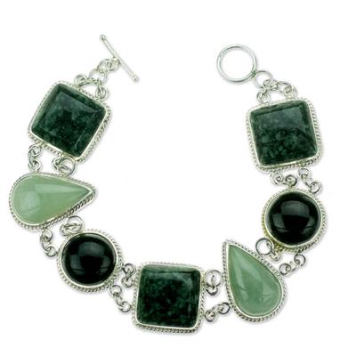 Jade link bracelet, 'Natural Geometry' - Green and Black Jade on Sterling Silver Bracelet