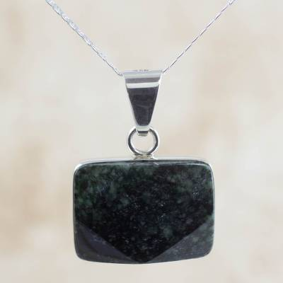 Reversible jade pendant necklace, 'Tikal Toucan' - Dark Green Jade and Sterling Silver Handcrafted Necklace