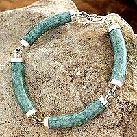Jade link bracelet, 'Natural Connection' - Artisan Crafted Green Jade Link Bracelet