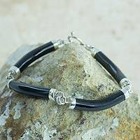 Black jade link bracelet, 'Natural Connection' - Artisan Crafted Black Jade and Sterling Silver Bracelet