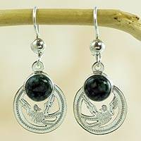 Jade dangle earrings, 'Quetzal Patriot' - Handmade Jade and Sterling Silver Earrings