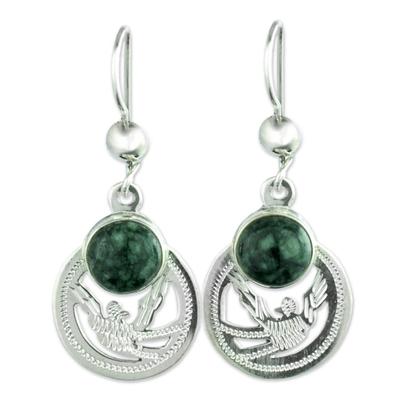 Handmade Jade and Sterling Silver Earrings