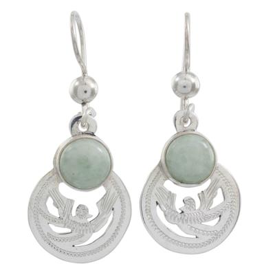 Light green jade dangle earrings, 'Quetzal Patriot' - Fair Trade Jewelry Jade and Sterling Silver Earrings