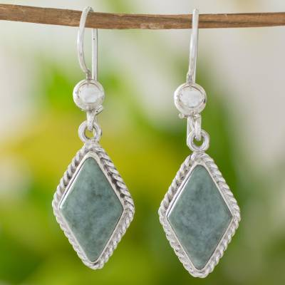 Light green jade dangle earrings, 'Maya Life' - Handcrafted Light Green Jade Earrings