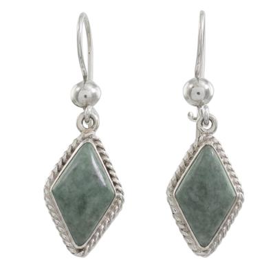 Light green jade dangle earrings, 'Maya Life' - Handcrafted Light Green Jade Earrings