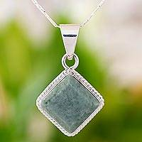 Light green jade pendant necklace, 'Maya Wisdom'