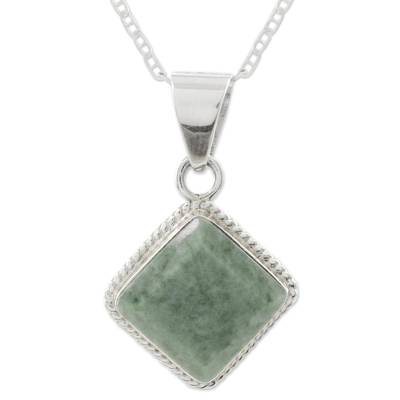 Light green jade pendant necklace, 'Maya Wisdom' - Artisan Crafted Jade and Sterling Silver Necklace