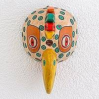 Wood mask, 'Maya Rooster' - Handcrafted Wood Mask