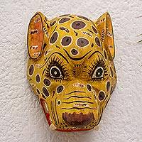 Wood mask, 'Yellow Maya Jaguar' - Guatemalan Handcrafted Jaguar Mask