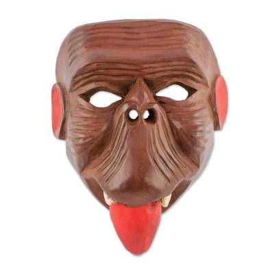 Wood mask, 'Maya Spider Monkey' - Collectible Hand-carved Wood Mask