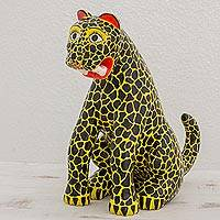 Wood sculpture, 'Awesome Ocelot' - Hand-carved Wood Sculpture