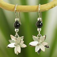 Jade flower earrings, 'Black Blossom'
