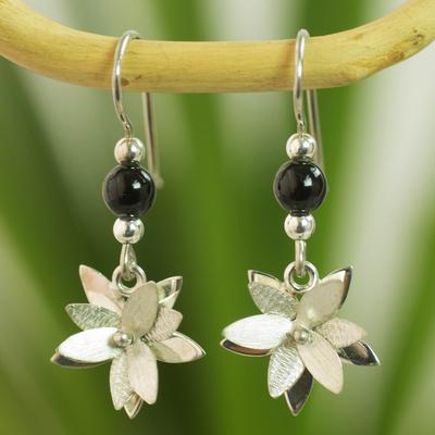 Jade flower earrings, 'Black Blossom' - Guatemala Black Jade Flower Earrings