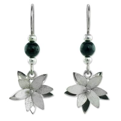 Jade flower earrings, 'Black Blossom' - Guatemala Black Jade Flower Earrings