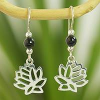 Jade flower earrings, 'Black Lotus' - Guatemalan Black Jade Lotus Earrings