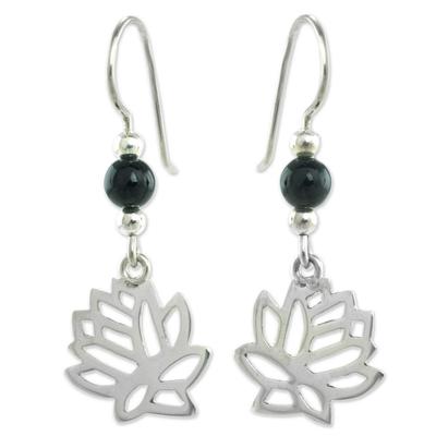Jade flower earrings, 'Flower of the Lotus' - Guatemalan Black Jade Lotus Earrings