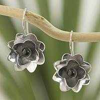 Jade flower earrings, 'Night Lily'