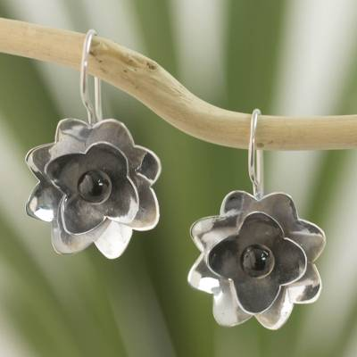 Jade flower earrings, 'Night Lily' - Guatemala Black Jade Flower Earrings