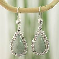 Jade dangle earrings, 'Apple Green Blossoming Dew'