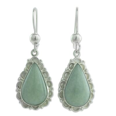 Jade dangle earrings, 'Apple Green Blossoming Dew' - Guatemalan Hand Crafted Apple Green Jade Dangle Earrings