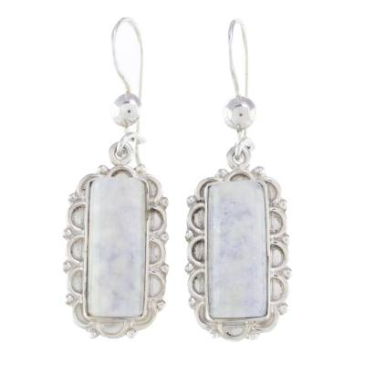 Lilac Jade and Sterling Silver Handcrafted Earrings