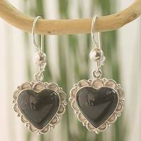 Dark green jade heart earrings, 'Zinnia Love' - Dark Green Jade and Sterling Silver Handcrafted Earrings